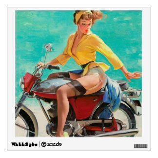 Motorcycle Pinup Girl - Retro Pinup Art Wall Sticker