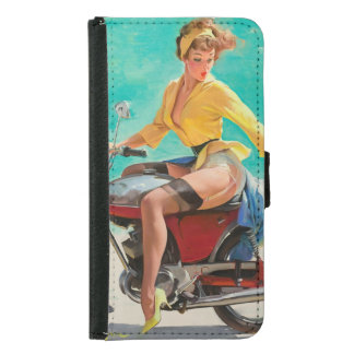 Motorcycle Pinup Girl - Retro Pinup Art Wallet Phone Case For Samsung Galaxy S5