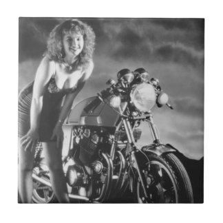 Motorcycle Pinup Girl Tile