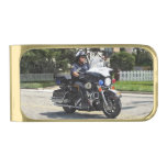 Motorcycle Police Officer Gold Finish Money Clip