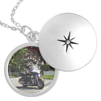 Motorcycle Police Officer Silver Plated Necklace