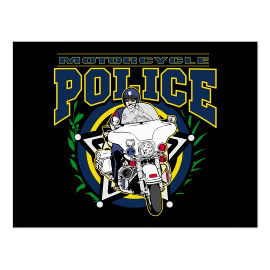 Motorcycle Police Postcard