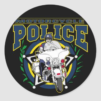 Motorcycle Police Round Sticker
