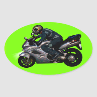 Motorcycle Power Biker Transport Gift Oval Sticker