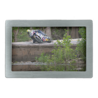 Motorcycle Racer on Old Creek Bridge Rectangular Belt Buckle