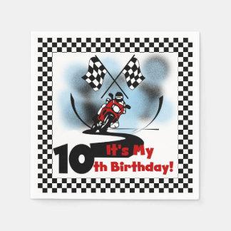 Motorcycle Racing 10th Birthday Paper Napkins