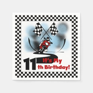 Motorcycle Racing 11th Birthday Paper Napkins
