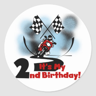 Motorcycle Racing 2nd Birthday Tshirts and Gifts Classic Round Sticker