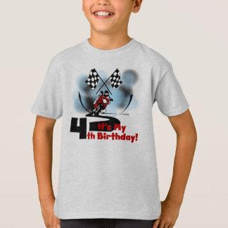 Motorcycle Racing 4th Birthday T-Shirt