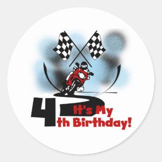 Motorcycle Racing 4th Birthday Tshirts Classic Round Sticker