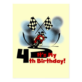 Motorcycle Racing 4th Birthday Tshirts Postcard