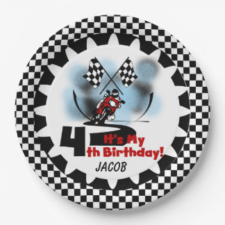 Motorcycle Racing 4th Happy Birthday Paper Plates