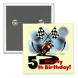 Motorcycle Racing 5th Birthday Button