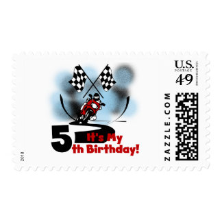 Motorcycle Racing 5th Birthday Postage