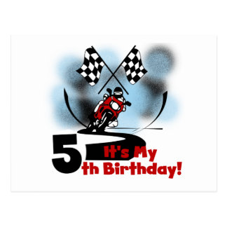 Motorcycle Racing 5th Birthday Post Card