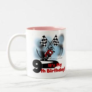 Motorcycle Racing 9th Birthday Two-Tone Coffee Mug