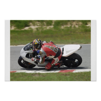Motorcycle Racing Dragging Knee Poster