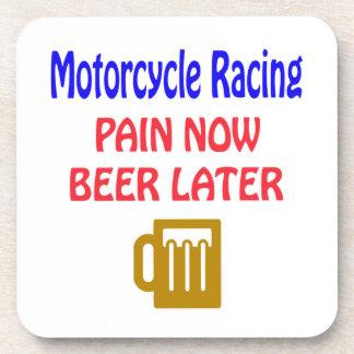 Motorcycle Racing pain now beer later Beverage Coasters