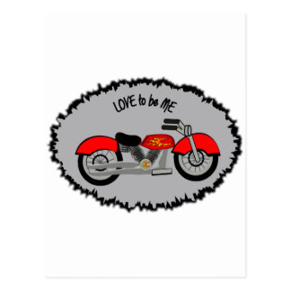 MOTORCYCLE RED - LOVE TO BE ME POSTCARD
