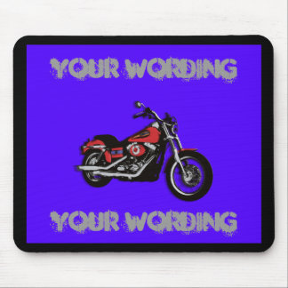Motorcycle red road bike mousepad (add wording)