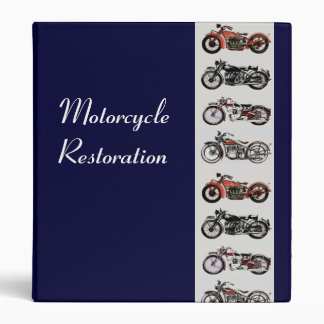 MOTORCYCLE RESTORATION blue grey red 3 Ring Binder