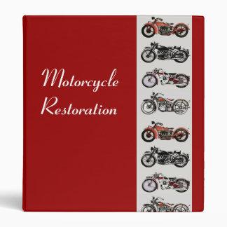 MOTORCYCLE RESTORATION red white grey 3 Ring Binder