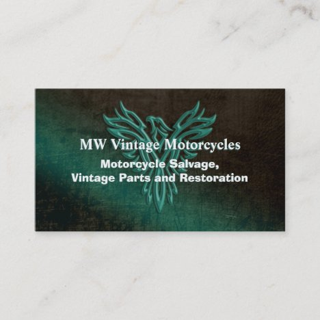 Motorcycle Restoration, teal leather-look, phoenix Business Card