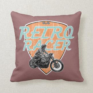 Motorcycle retro racer throw pillow