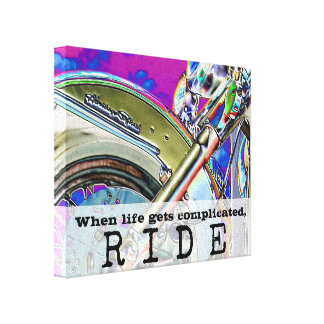 Motorcycle Ride Bright Neon Art | Biker Quote Canvas Print