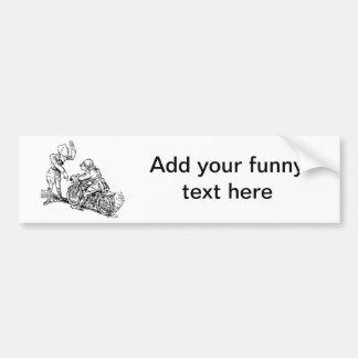 Motorcycle Rider & Policeman Humor Bumper Sticker