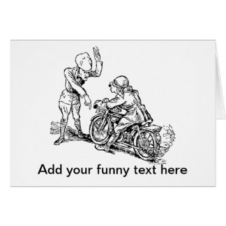 Motorcycle Rider & Policeman Humor Card