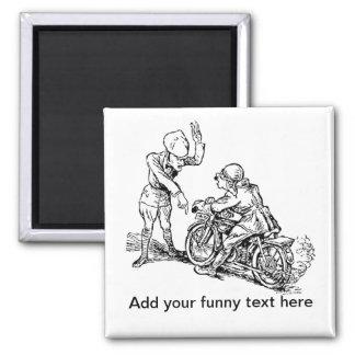 Motorcycle Rider & Policeman Humor Magnet