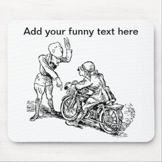 Motorcycle Rider & Policeman Humor Mouse Pad