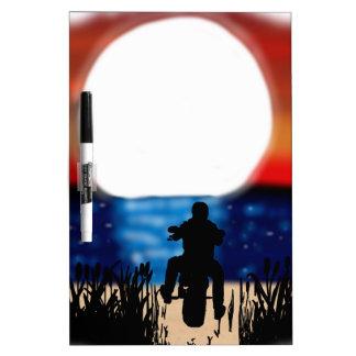 Motorcycle Rider Watching Sunset Dry-Erase Boards