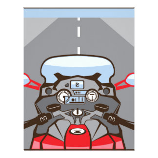 Motorcycle Riders View Color Road ahead Letterhead