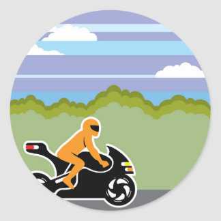 Motorcycle riding classic round sticker