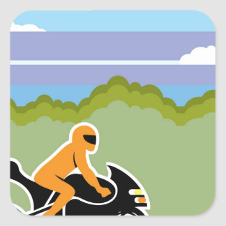 Motorcycle riding square sticker