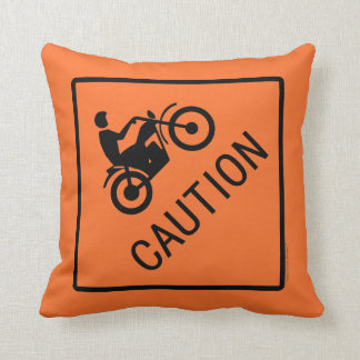 Motorcycle Road Sign - Caution Throw Pillow