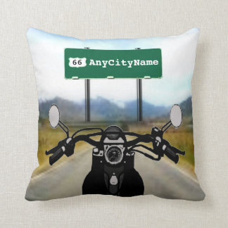 Motorcycle Road Trip Throw Pillow