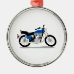 Motorcycle Round Metal Christmas Ornament