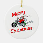 Motorcycle Santa Double-Sided Ceramic Round Christmas Ornament