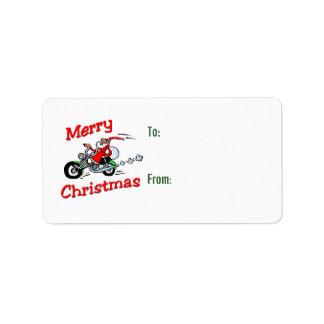 Motorcycle Santa Gift Tags Address Label
