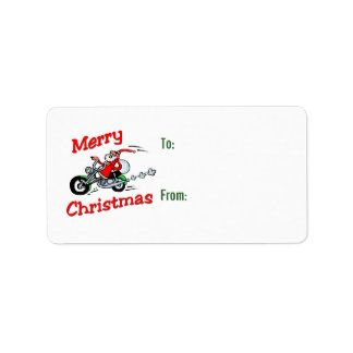 Motorcycle Santa Gift Tags Personalized Address Labels