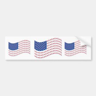 Motorcycle-Shadow-Flag-Wave Car Bumper Sticker