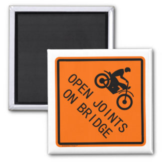 Motorcycle Sign - Open Joints on Bridge Magnets