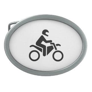 Motorcycle Silhouette Oval Belt Buckle