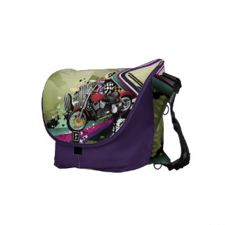 Motorcycle & Skull Surreal Urban Grunge Messenger Bag