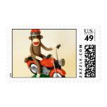 Motorcycle Sock Monkey Stamps