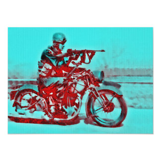 Motorcycle Soldier WWII Card