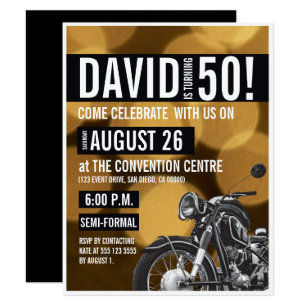 Black and gold 50th birthday invitations zazzle motorcycle theme 50th birthday party gold black invitation filmwisefo